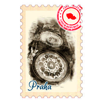 Magnetka známka Praha Orloj.